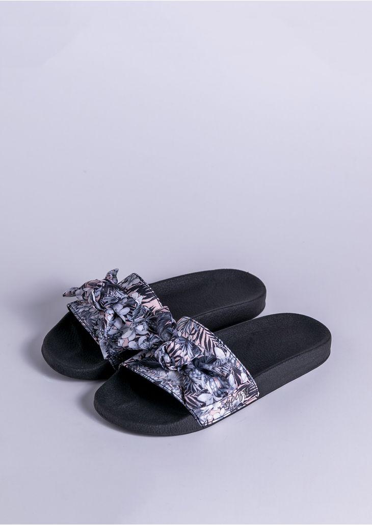 Chinelo-Goofy-Slide-Potira-Floral-Preto