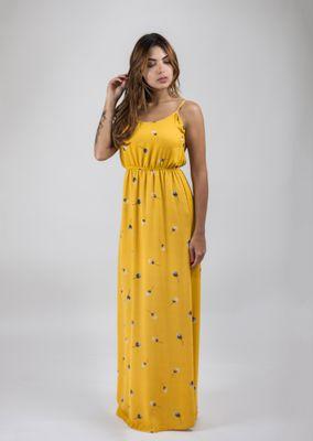 Vestido-Longo-Crepe-Amarelo-Floral