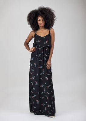 Vestido-Longo-Crepe-Preto-Floral