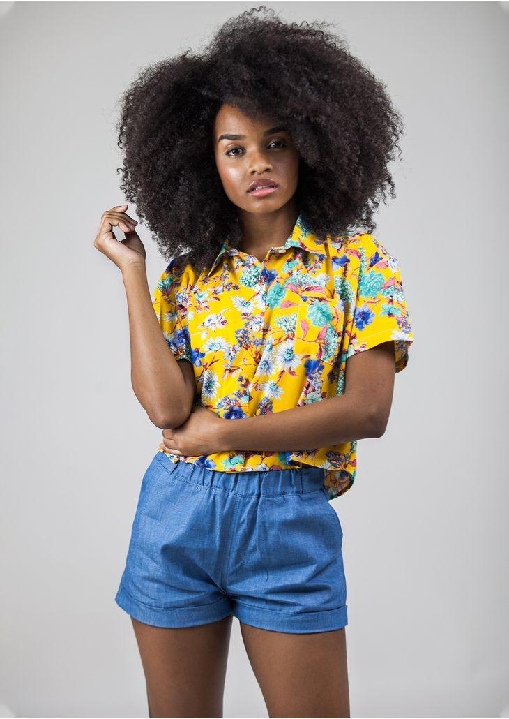 Camisa-Cropped-Floral-Amarelo