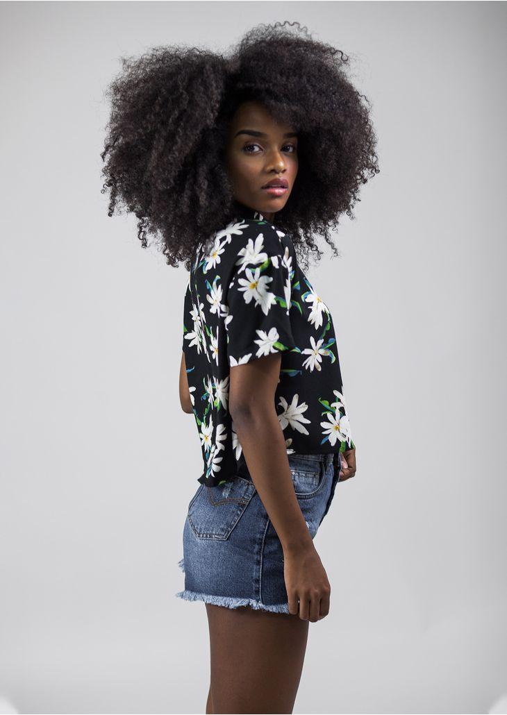 Camisa-Cropped-Floral-Preto