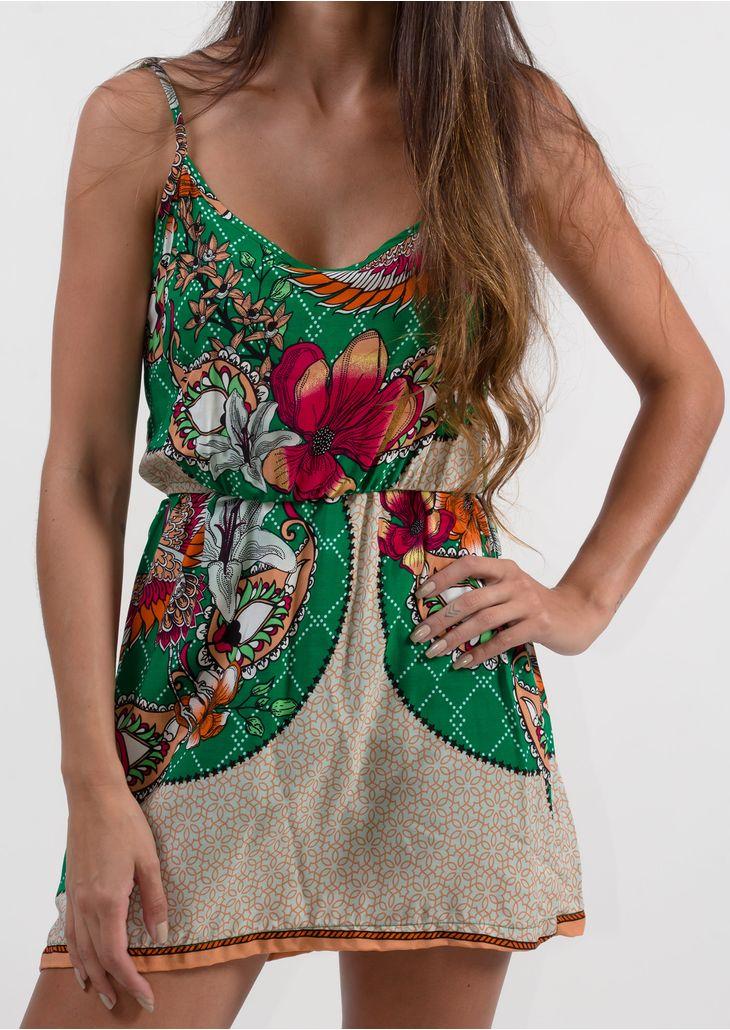 Vestido-Goofy-curto-Verde-Floral