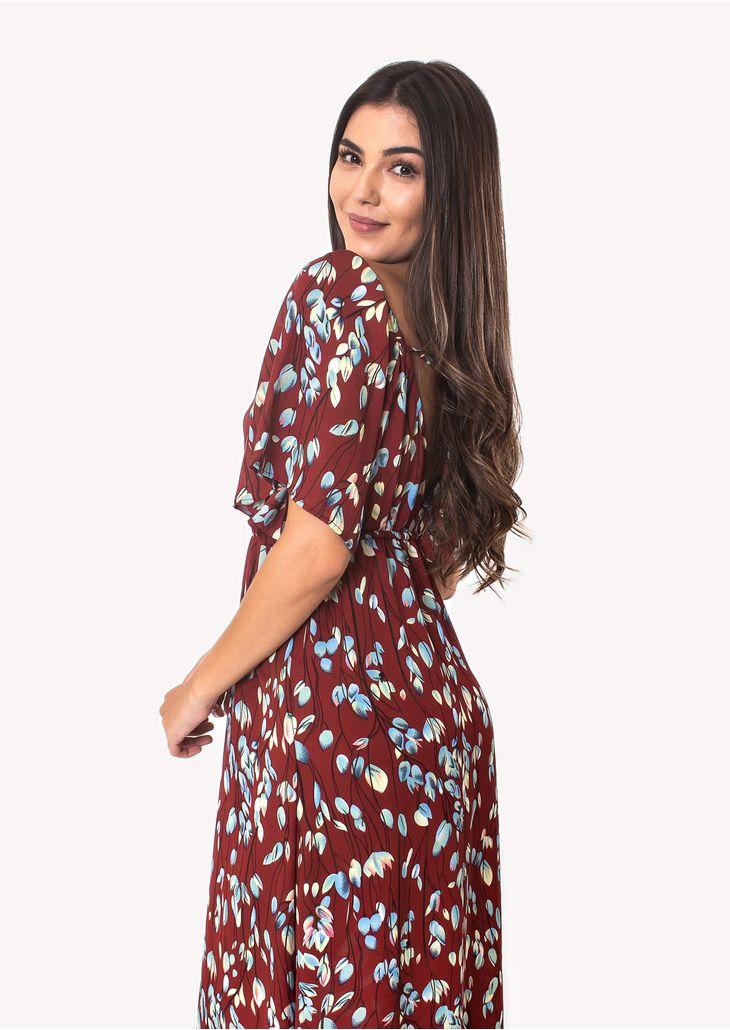 Vestido-Longo-com-Manga-e-Decote-Vinho-Floral