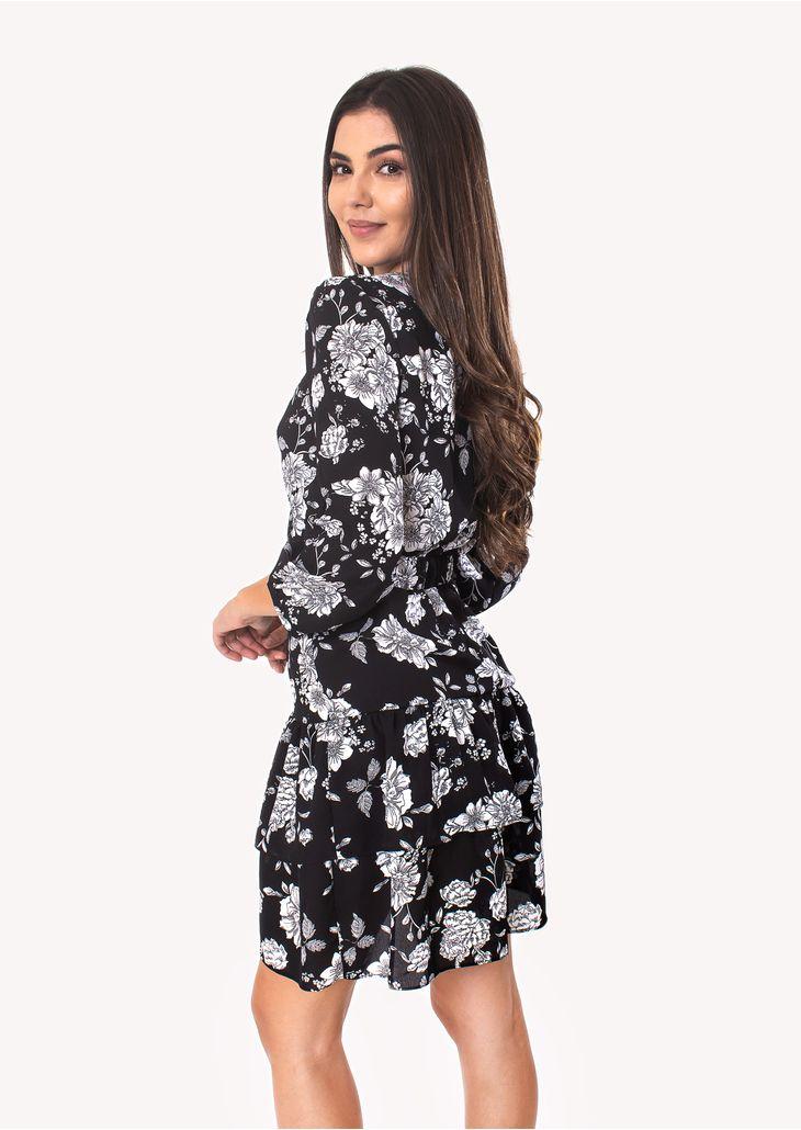 Vestido-Curto-com-Manga-Comprida-Preto-Floral
