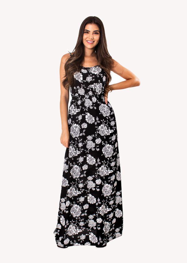 Vestido-Longo-com-Alcinha-Preto-Floral