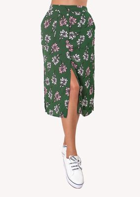 Saia-Mid-Botoes-Julia-Verde-Floral