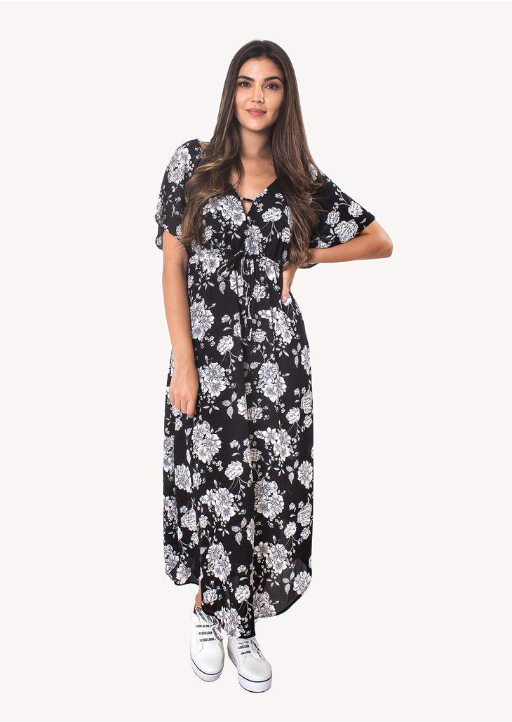 Vestido-Longo-com-Manga-e-Decote-Preto-Floral
